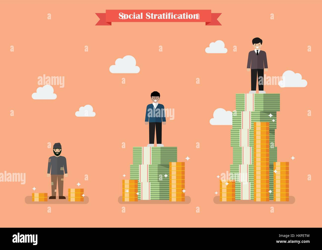 social stratification with money vector illustration