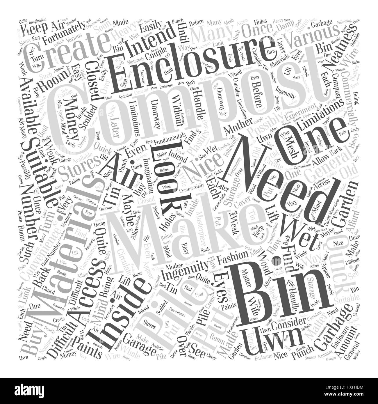 Making Your Uwn Compost Bin Word Cloud Concept - Stock Image