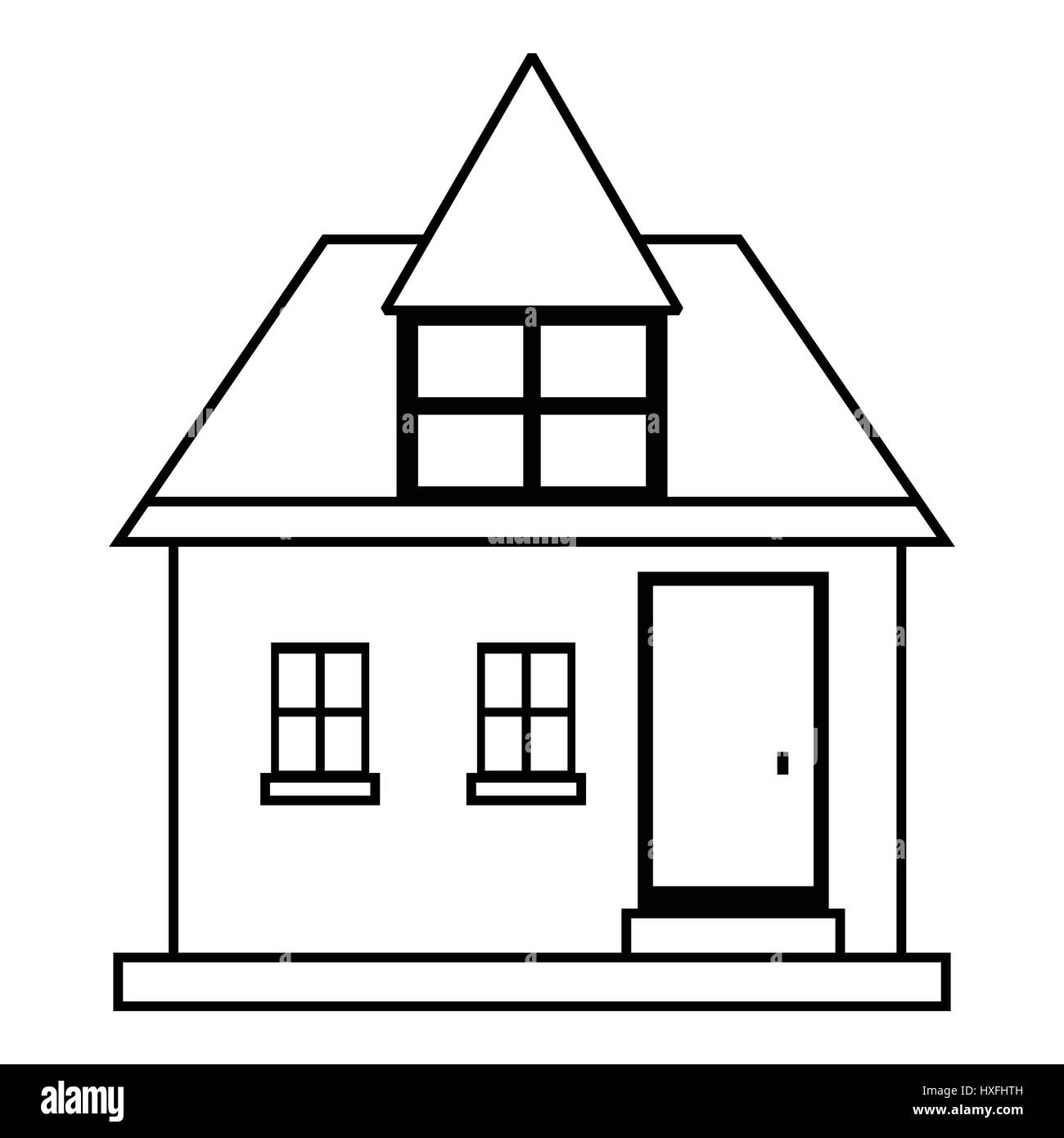 Cute country house icon, outline style - Stock Image