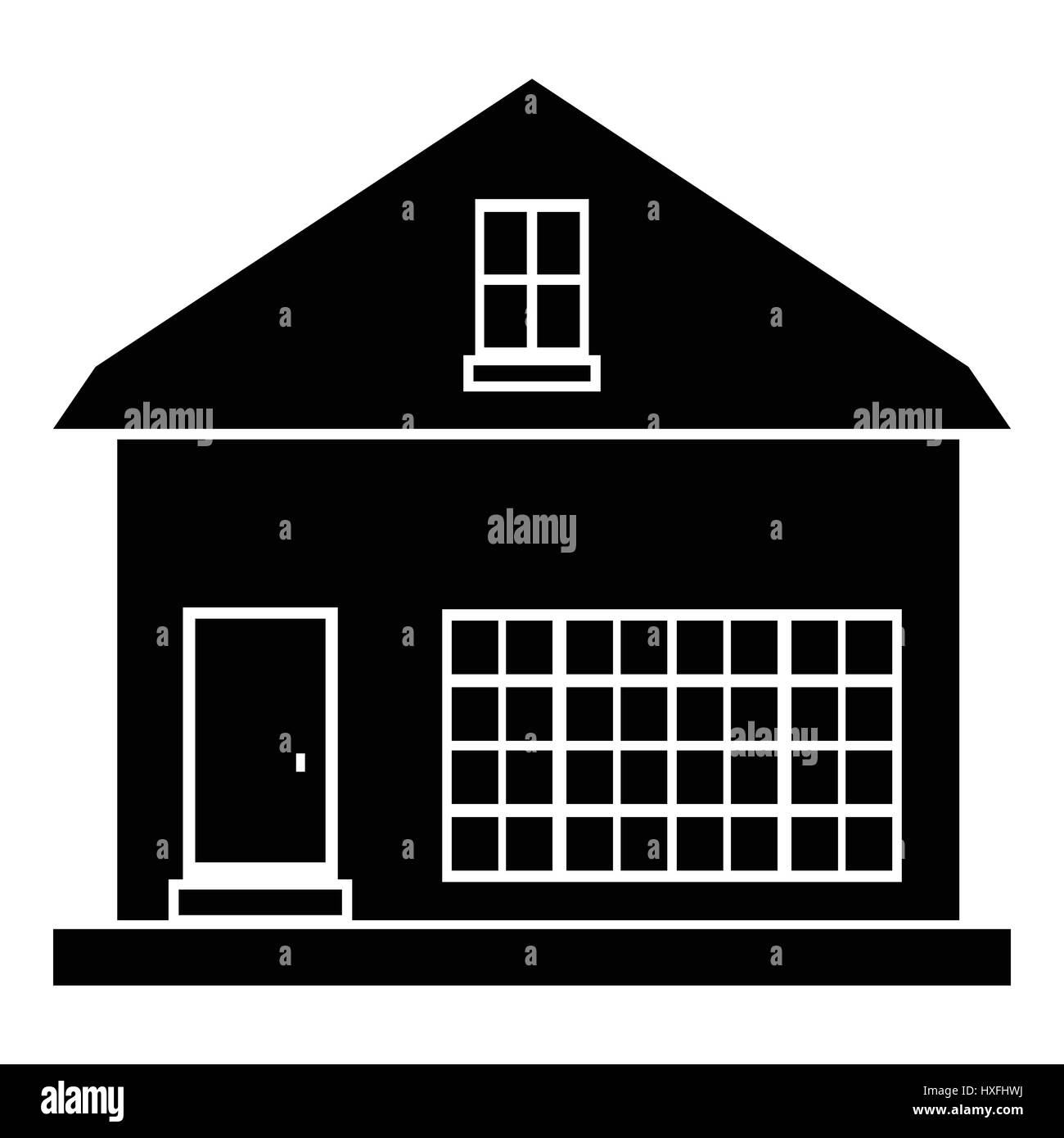 Cute country house icon, simple style - Stock Image