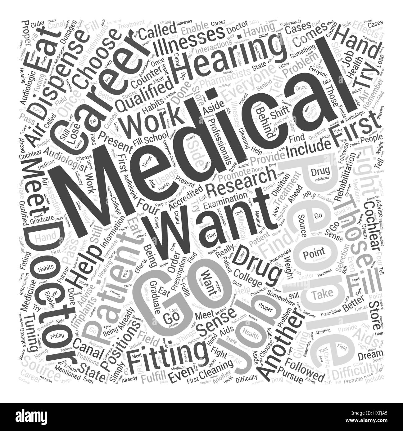 Medical Careers Word Cloud Concept - Stock Image