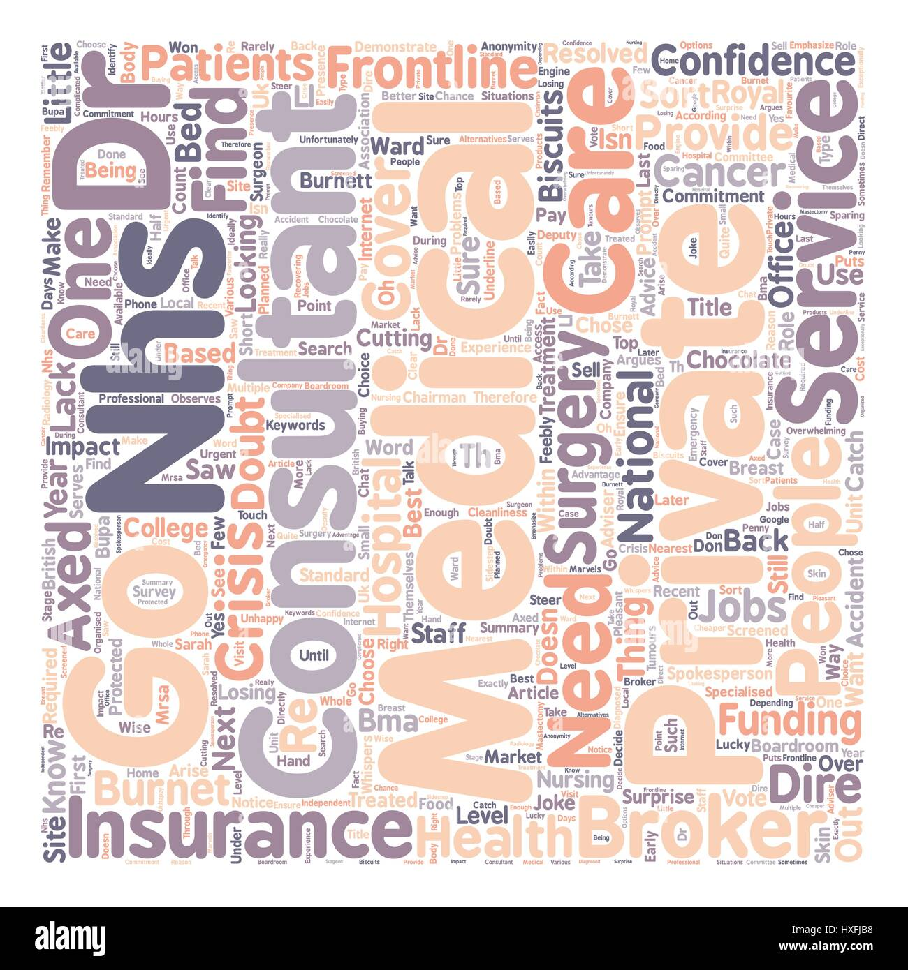 Medical Insurance NHS Consultants Go Private text background wordcloud concept - Stock Vector