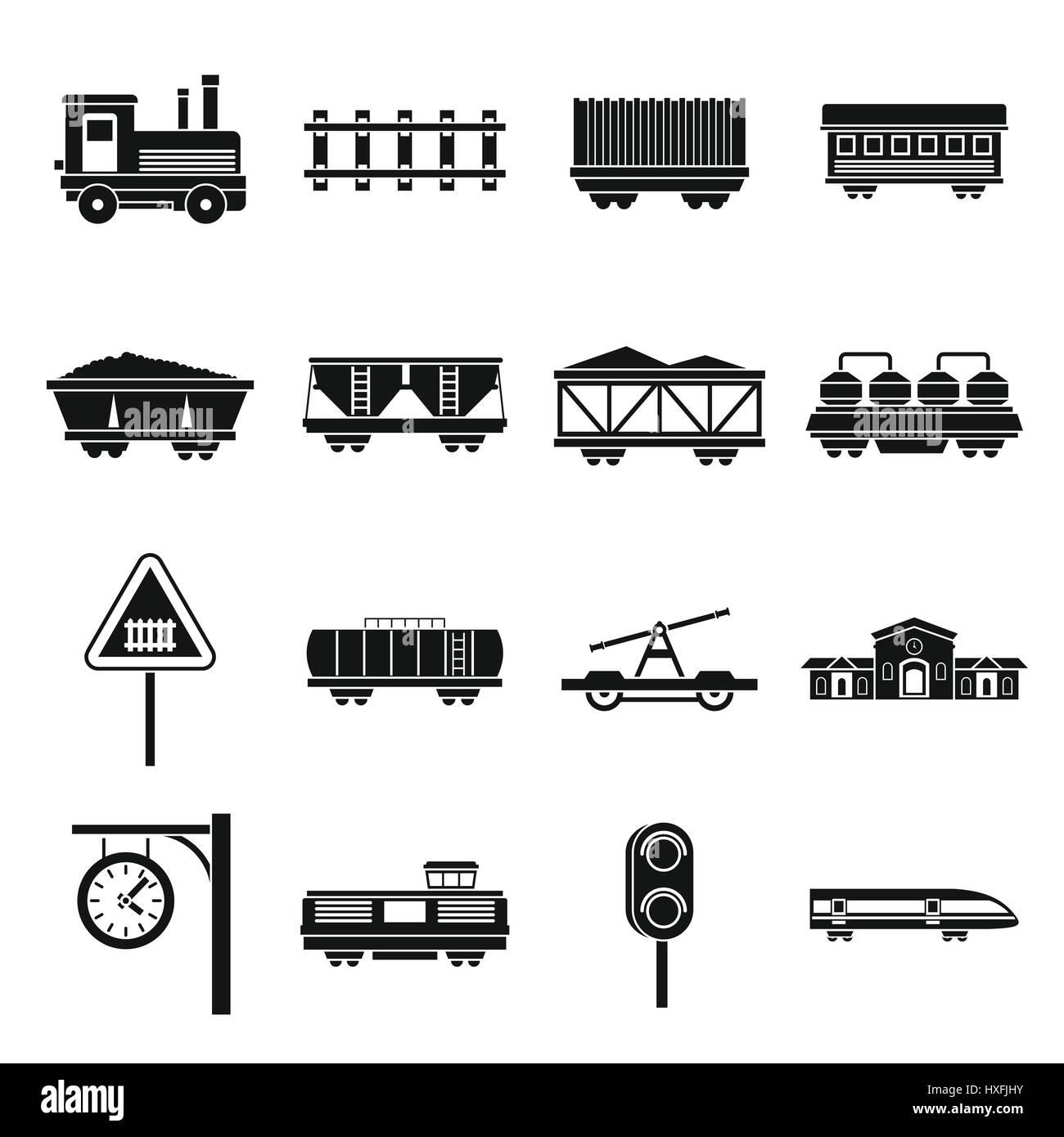 Railway icons set, simple style Stock Vector