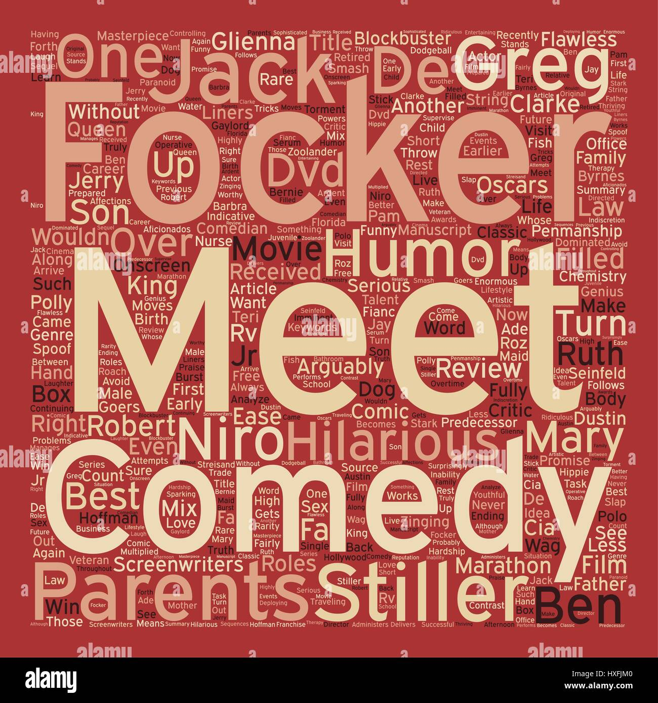 Meet The Fockers DVD Review text background wordcloud concept - Stock Image