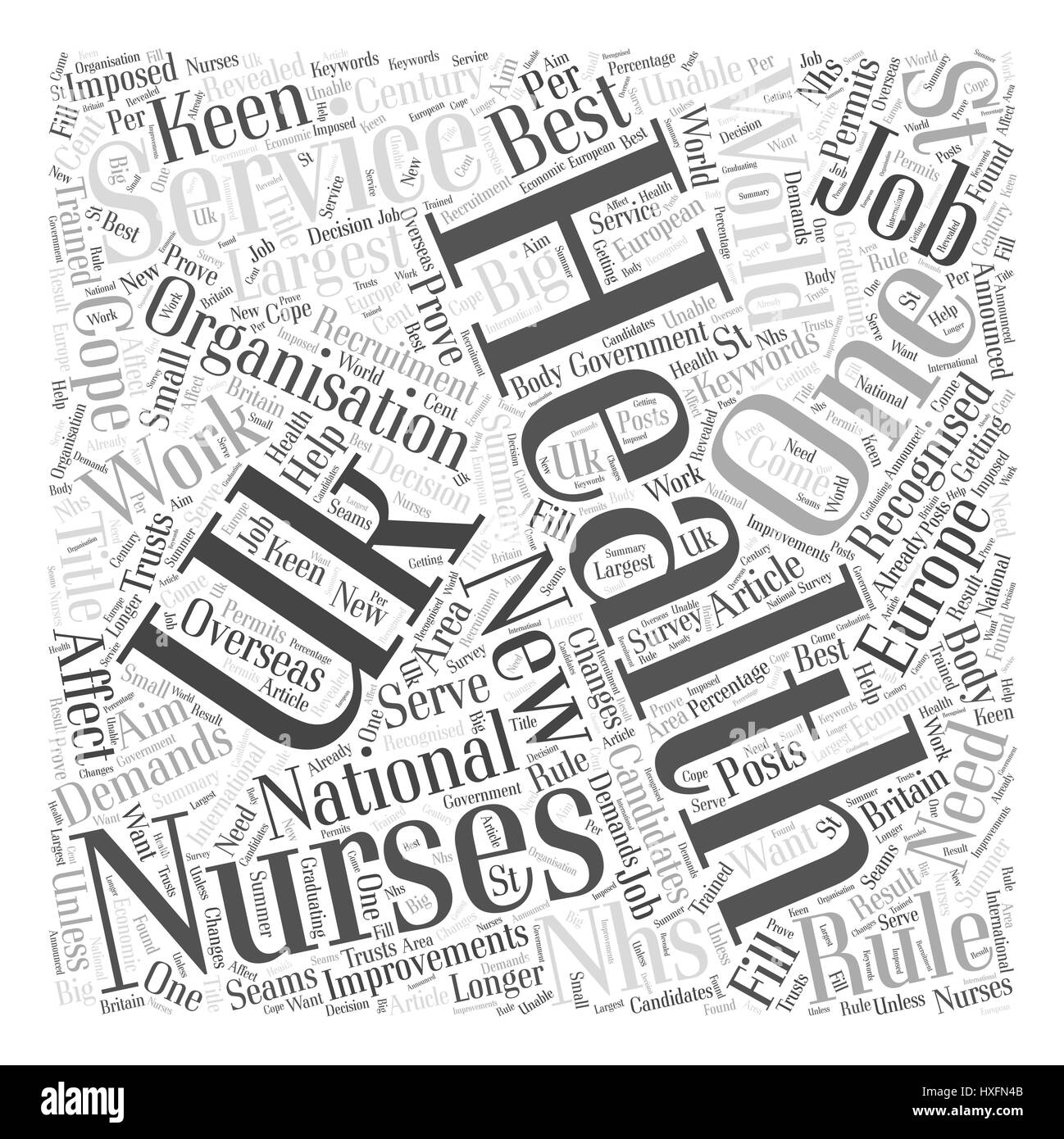 New Recruitment Rules For NHS Nurses Word Cloud Concept - Stock Vector