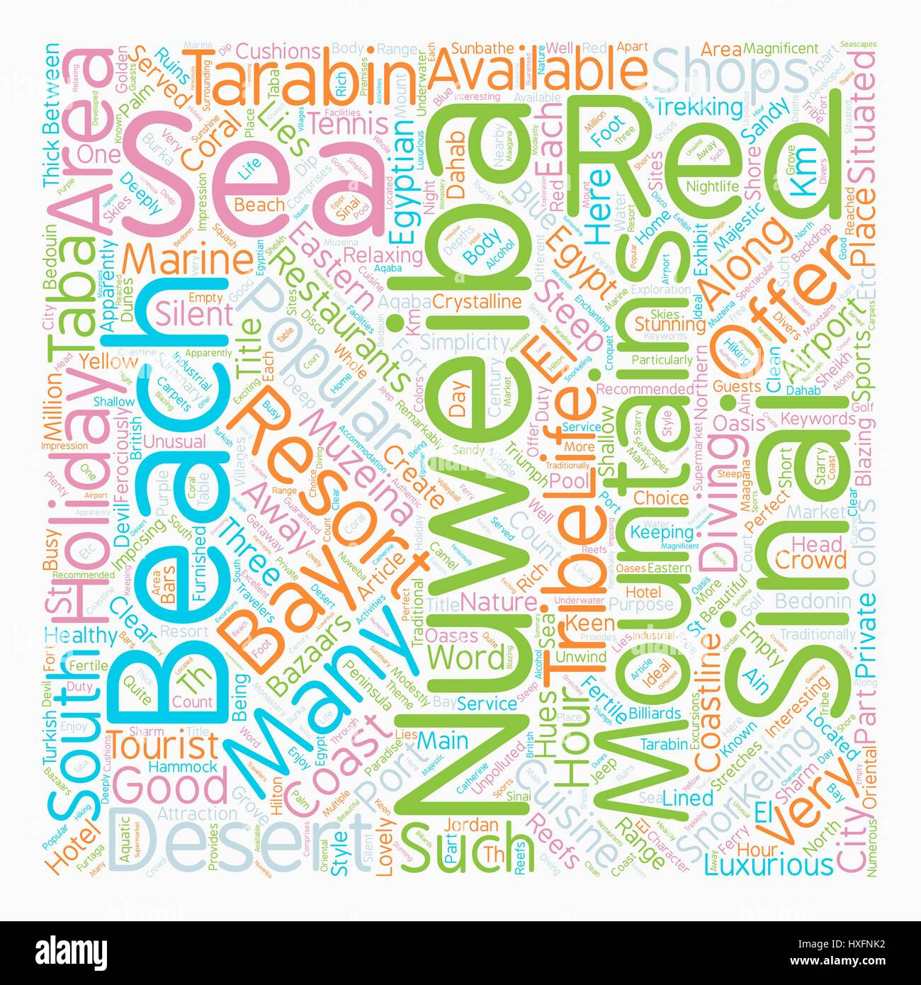 Nuweiba Holidays Egypt text background wordcloud concept - Stock Image
