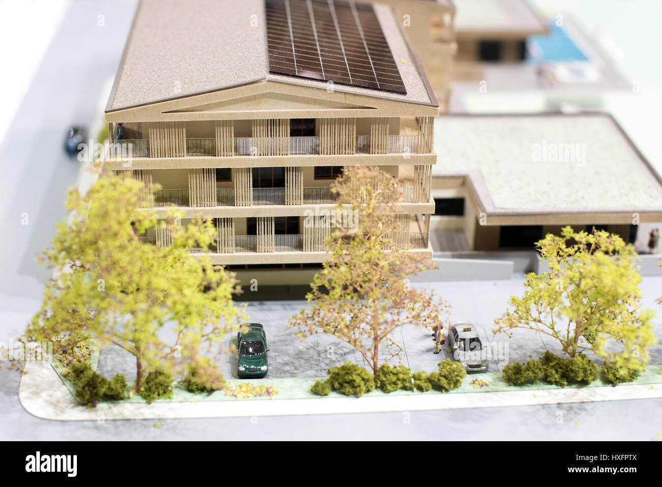 Scale Model Of A Multi Storey Eco Friendly House Or Small