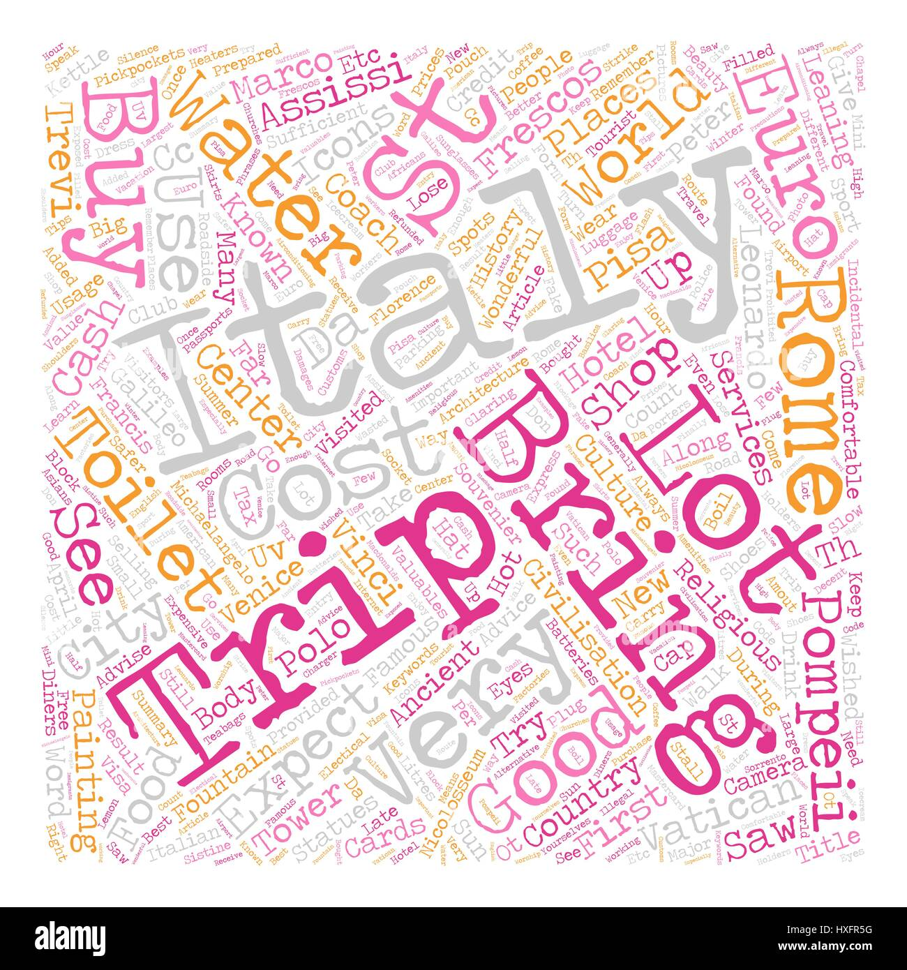 Our Trip To Italy April 2007 text background wordcloud concept - Stock Vector