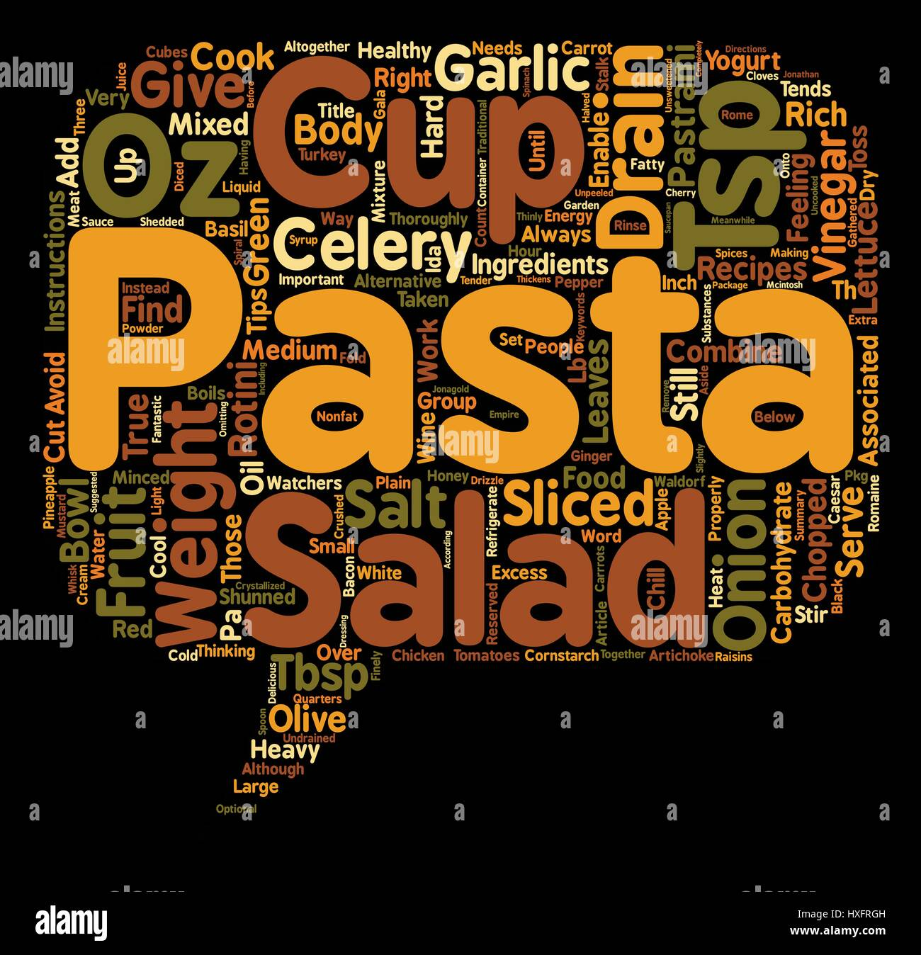 Pasta Salad As A Healthy Alternative text background wordcloud concept - Stock Image
