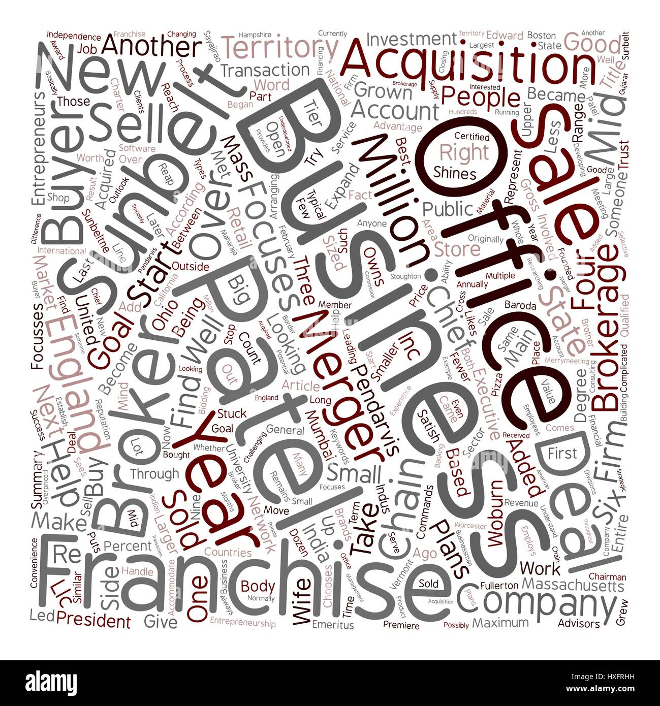 Patel shines with Sunbelt business brokerage chain text background wordcloud concept - Stock Image