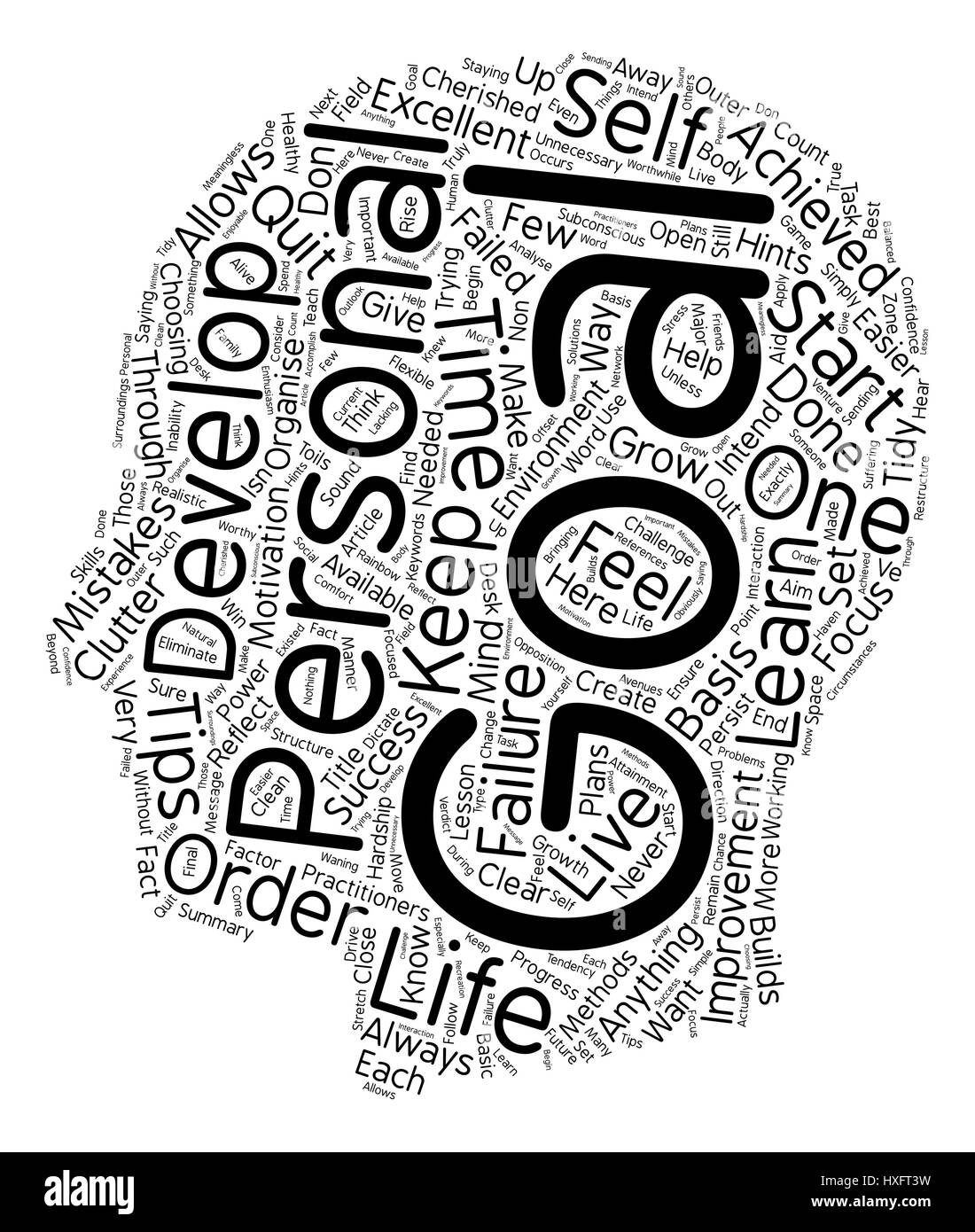 Personal Development Power Tips text background wordcloud concept - Stock Image
