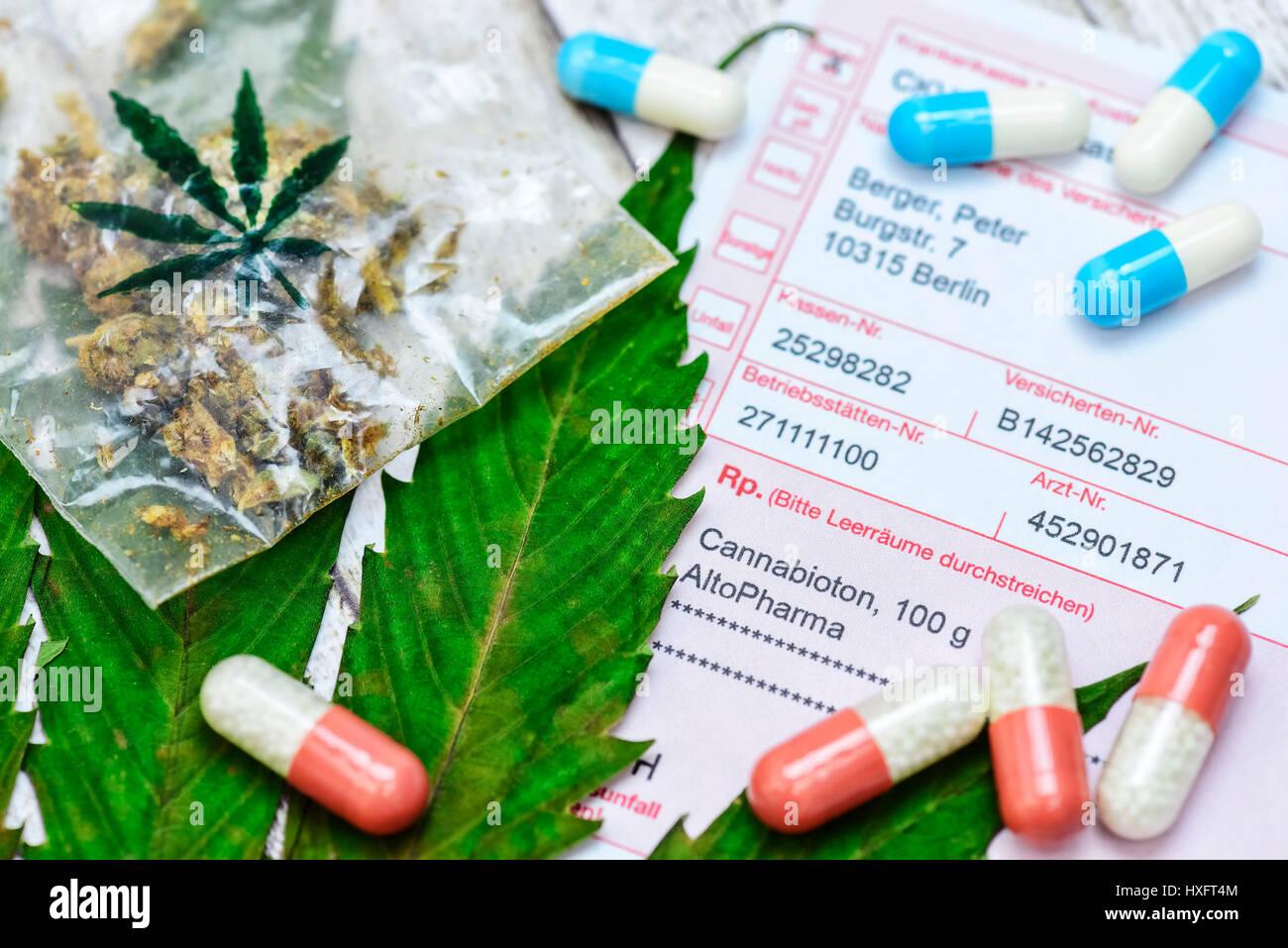 Hemp sheet, cannabis and medical recipe, Hanfblatt, Cannabis und ärztliches Rezept Stock Photo