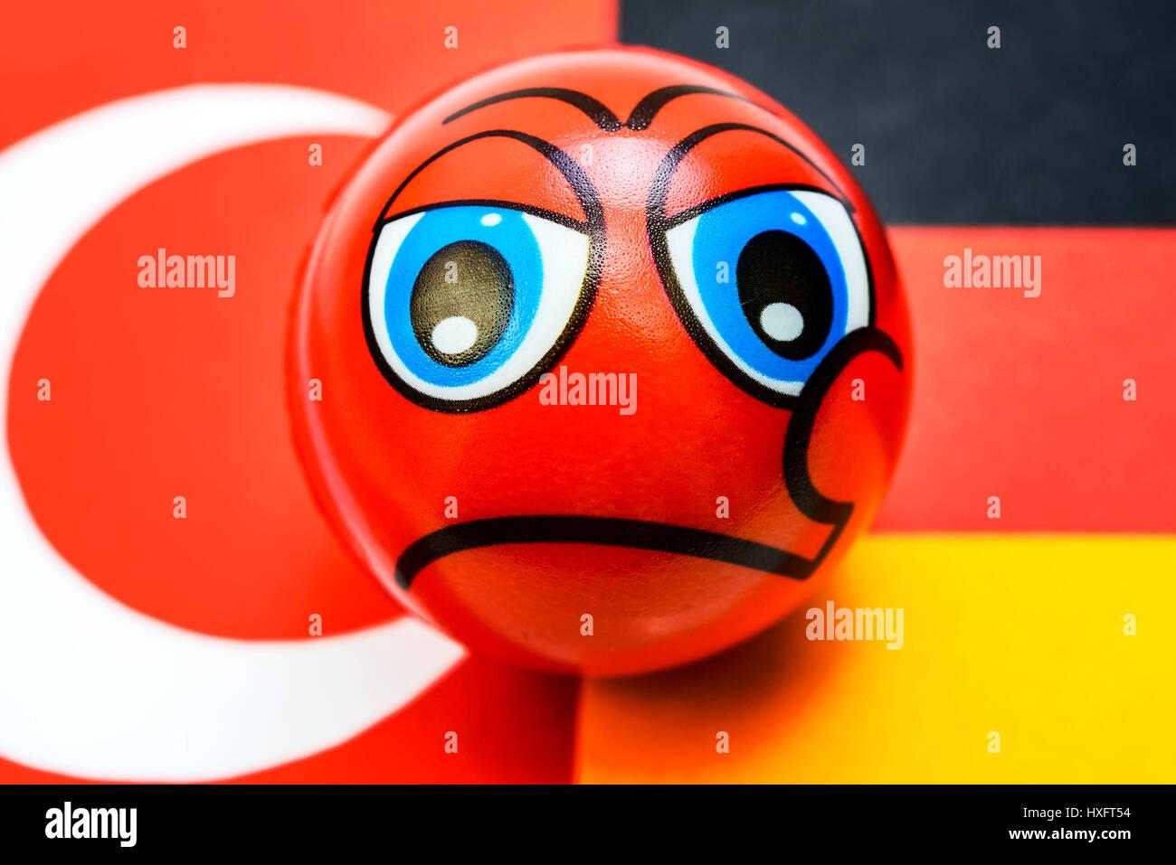 Flags of Germany and Turkey with Schlechter-Laune-Smiley, crisis in the German Turkish relations, Fahnen von Deutschland Stock Photo