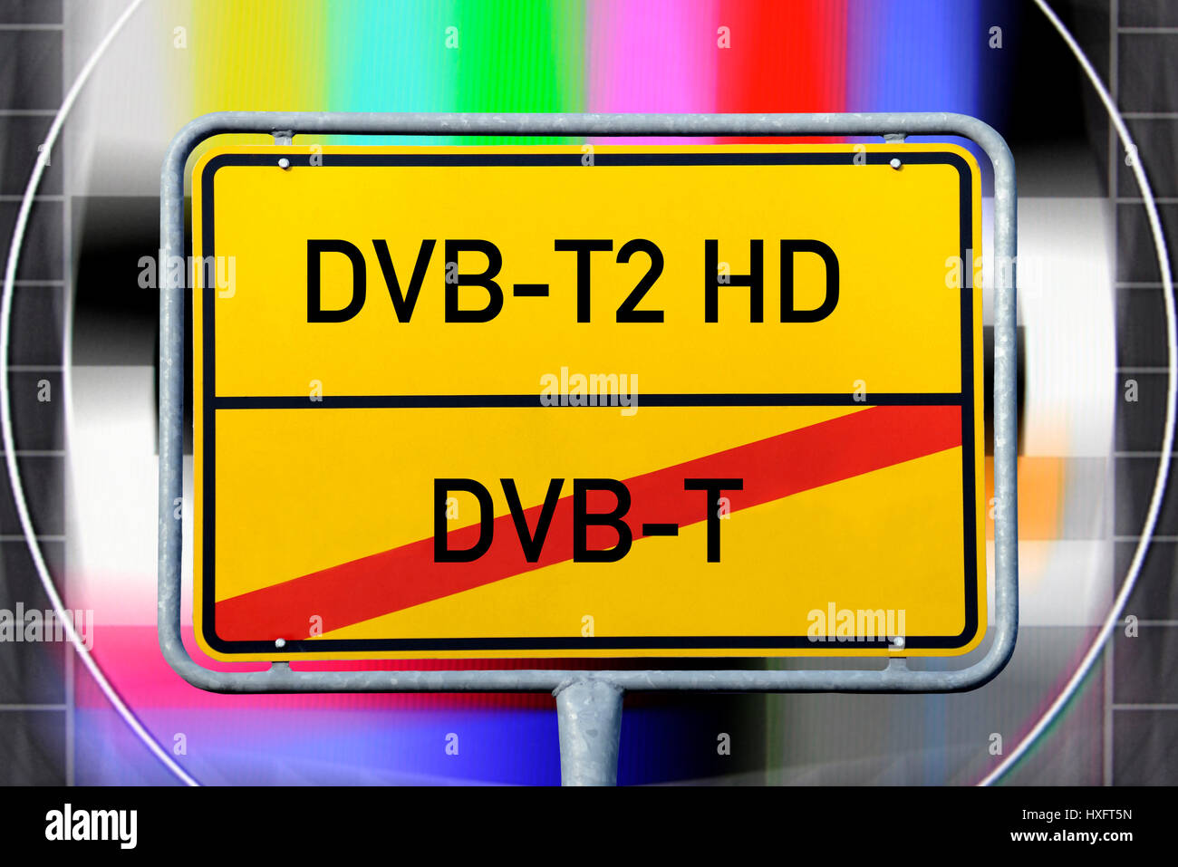 Conversion of DVB T on TVB-T2 HD, symbolic photo, Umstellung von DVB-T auf TVB-T2 HD, Symbolfoto - Stock Image