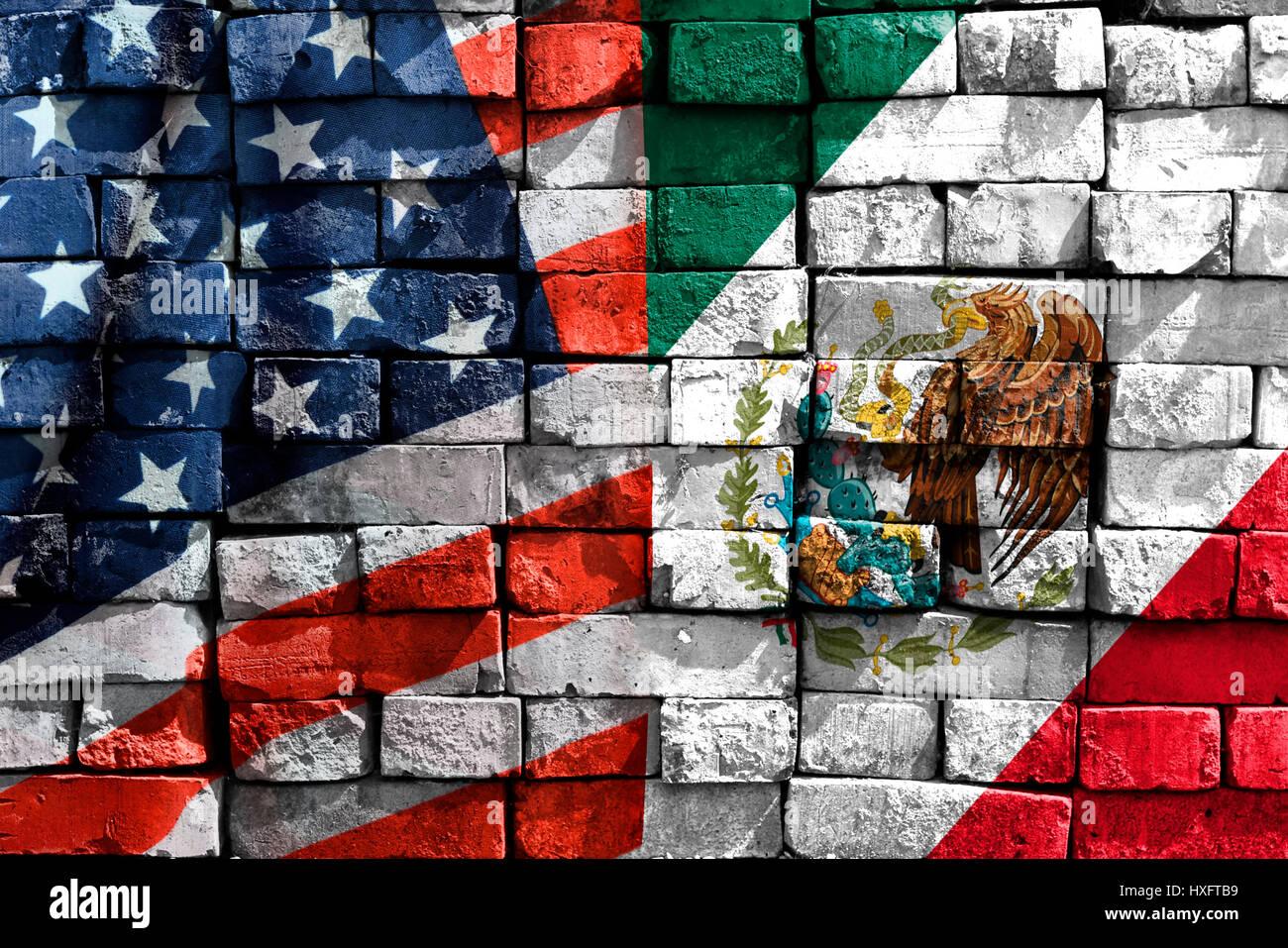 Flags of the USA and Mexico on a wall, Fahnen von den USA und Mexiko auf einer Mauer - Stock Image