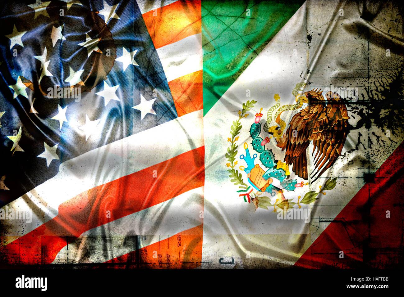 Flags of the USA and Mexico, Fahnen von den USA und Mexiko - Stock Image