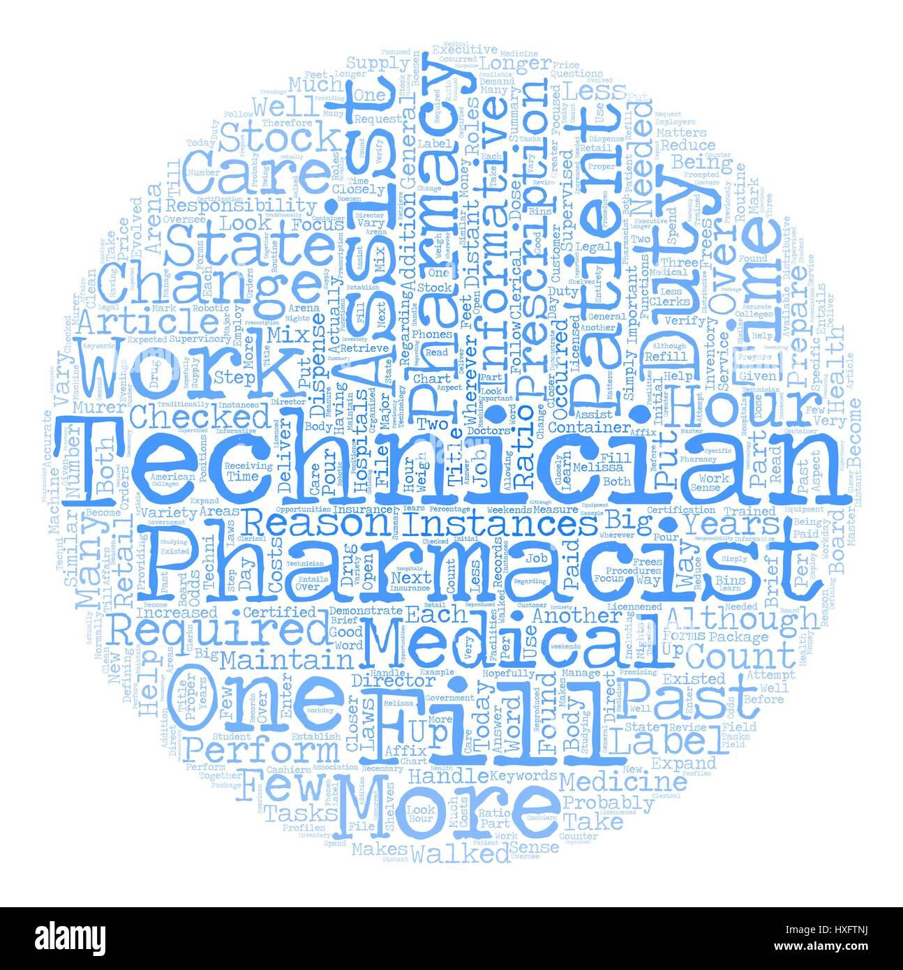 Pharmacy Technician A Closer Look text background wordcloud concept - Stock Vector