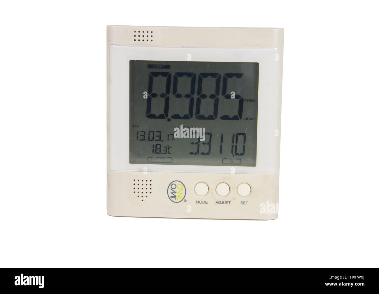 OWL electricity energy monitor display. Third-party smart electricity meter type product showing domestic energy - Stock Image