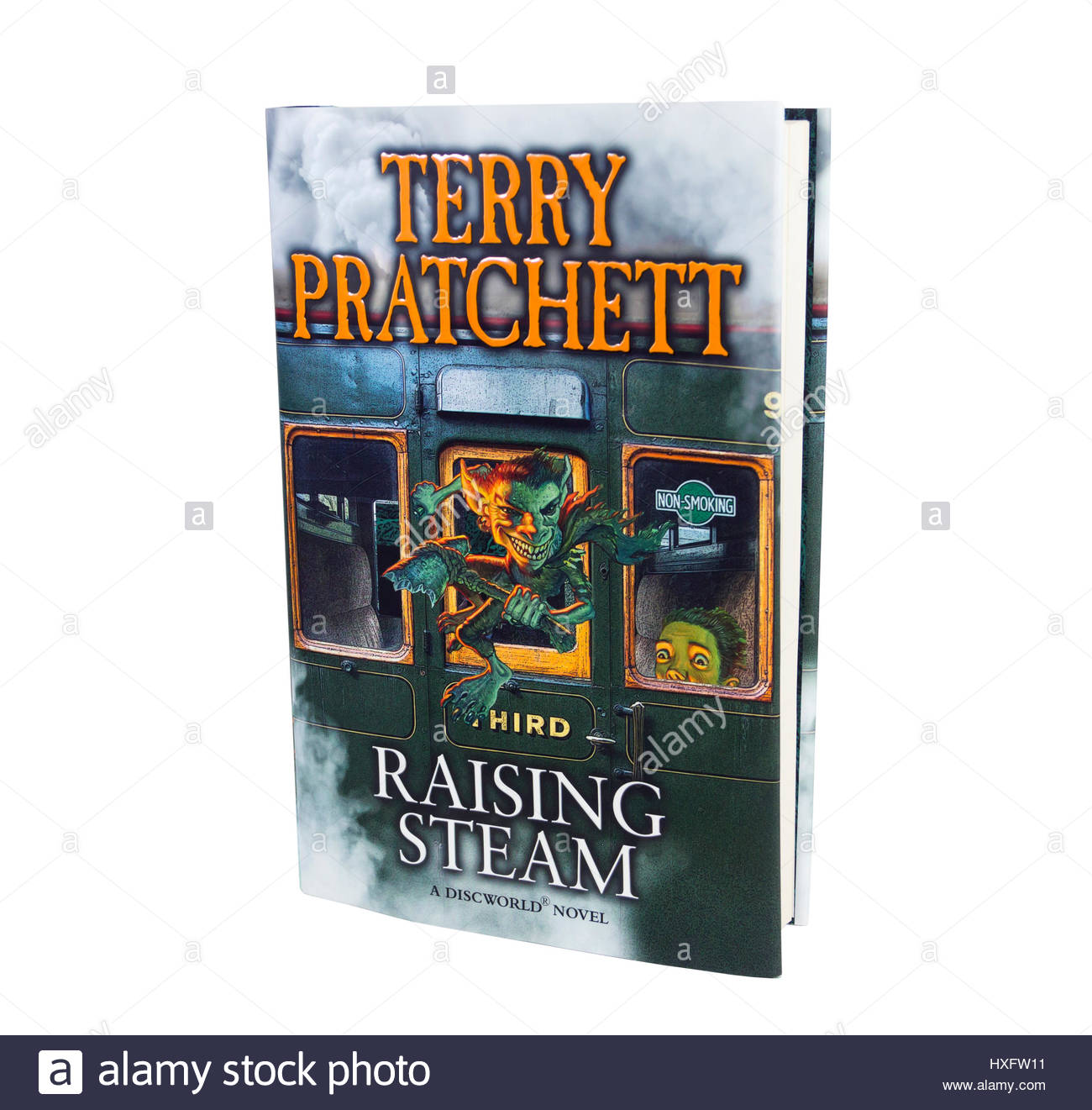 Hardback book with dustjacket of 'Raising Steam', the fantasy genre  book by Terry Pratchett in his Discworld - Stock Image