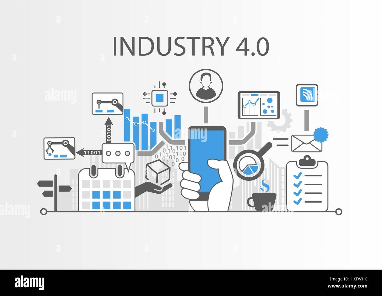 Industry 4.0 vector illustration background as example for internet of things technology Stock Vector