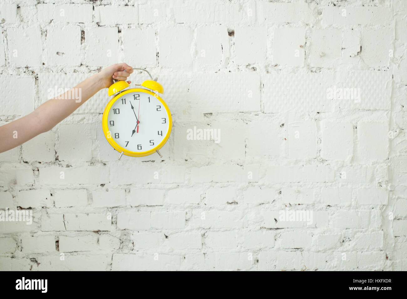 Girl holding yellow alarm clock in her hand isolated on white brick backgroung - Stock Image