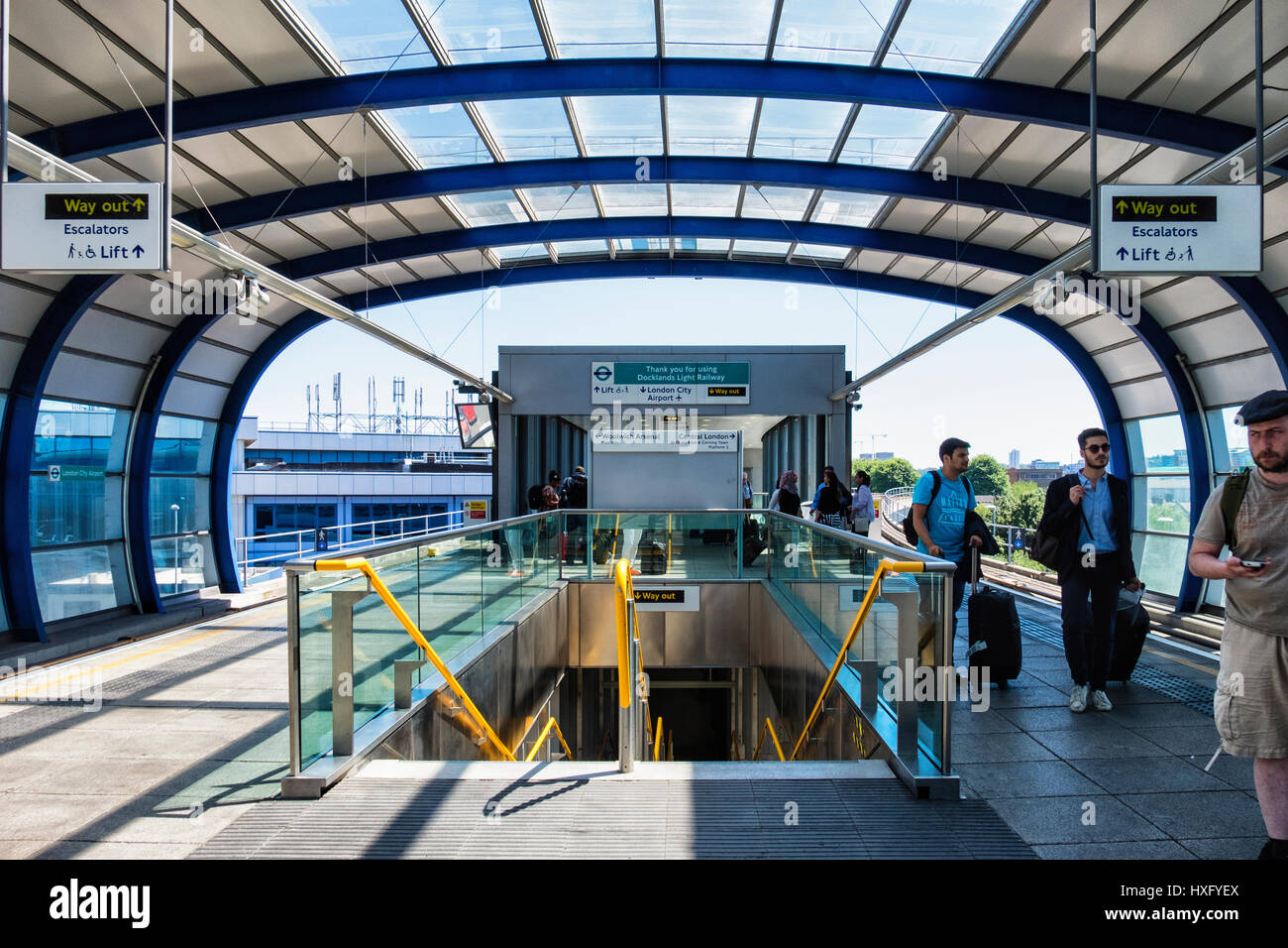 London UK. Docklands Light Railway Station,DLR. Platform of rail station serving travellers to London City Airport,LCY - Stock Image