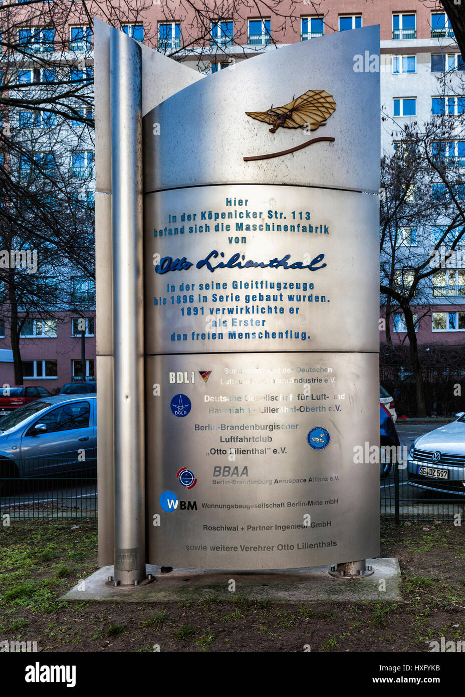 Monument in Berlin (Köpenicker Straße) marks the site of the machine factory of Otto Lilienthal, aviation - Stock Image