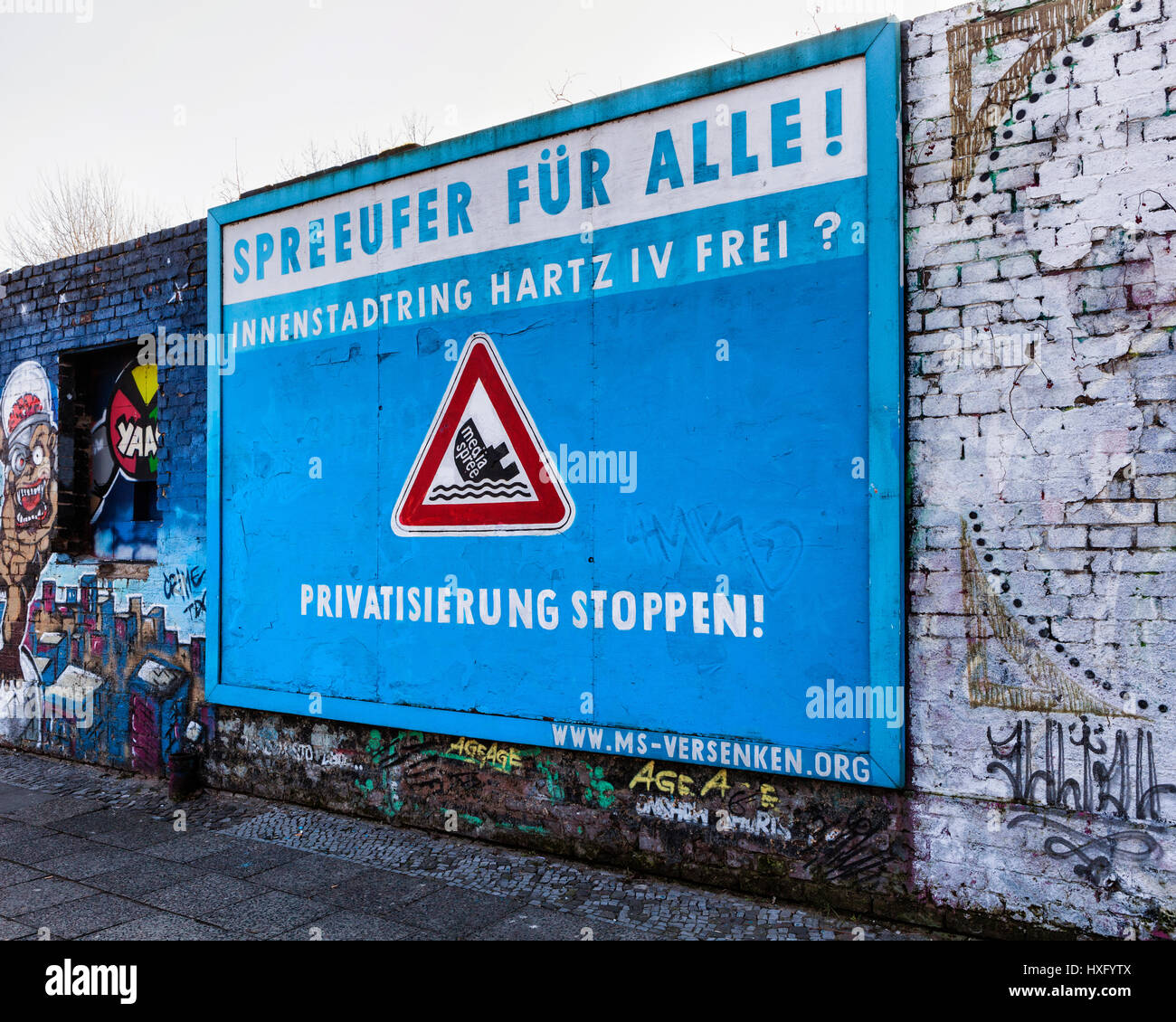 Berlin,Friederichshain. Wall sign objecting to development and gentrification of the Spree riverside. Anti-gentrification - Stock Image