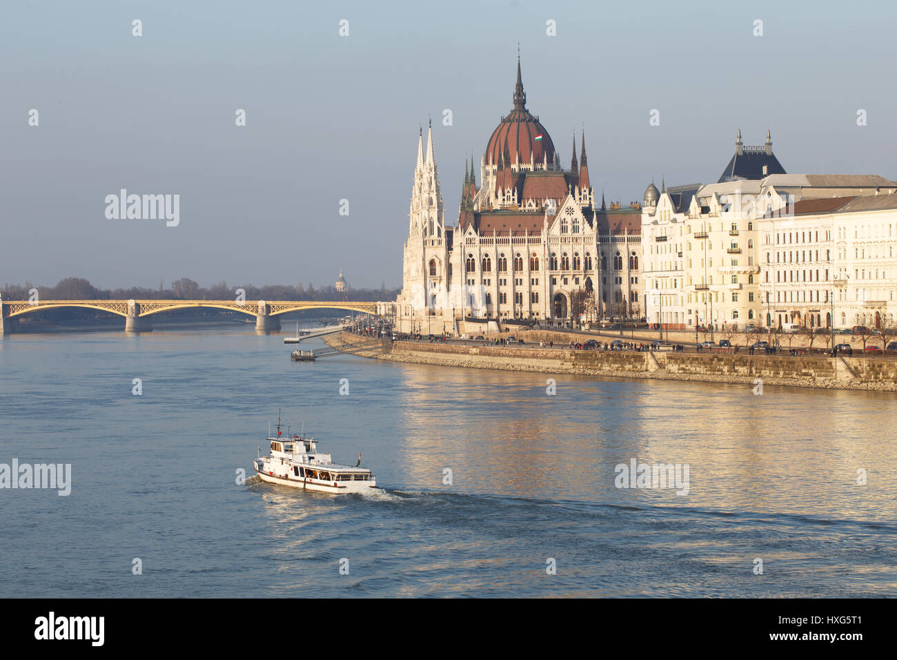 Parliament building at river Danube and ship, Budapest, Hungary Stock Photo