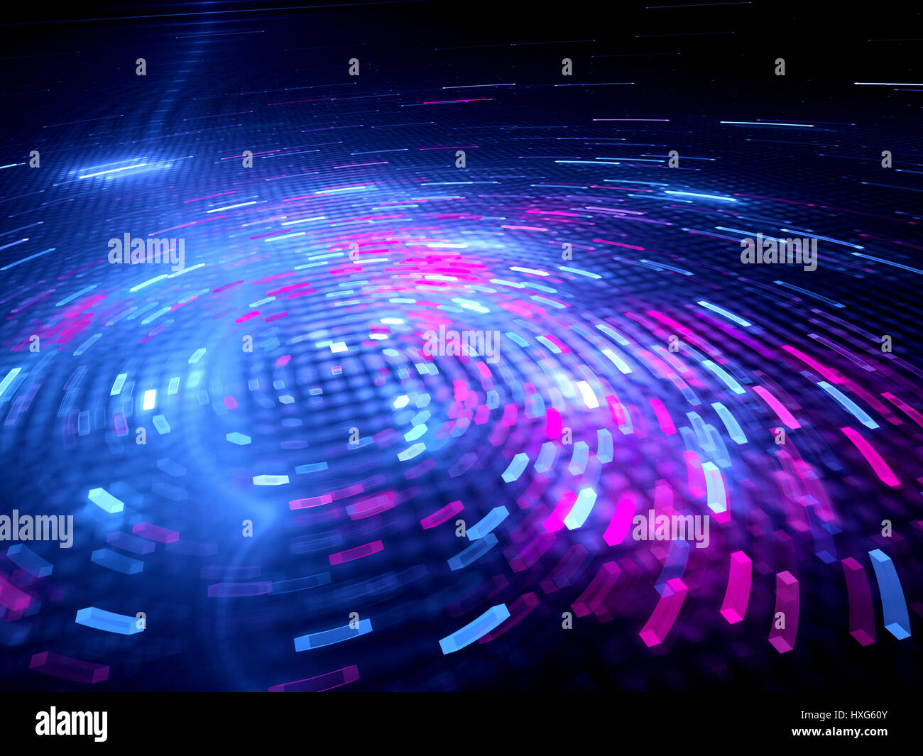 Glowing spinning colorful big data, computer generated abstract background, 3D rendering - Stock Image