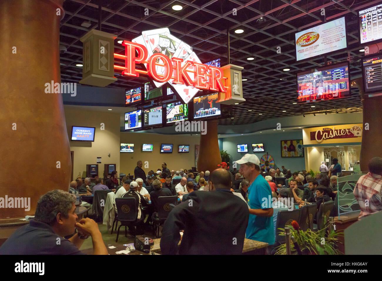 HALLANDALE BEACH, USA - MAR 11, 2017: People  gambling in the Gulfstream park casino in Hallandale Beach. Florida, - Stock Image