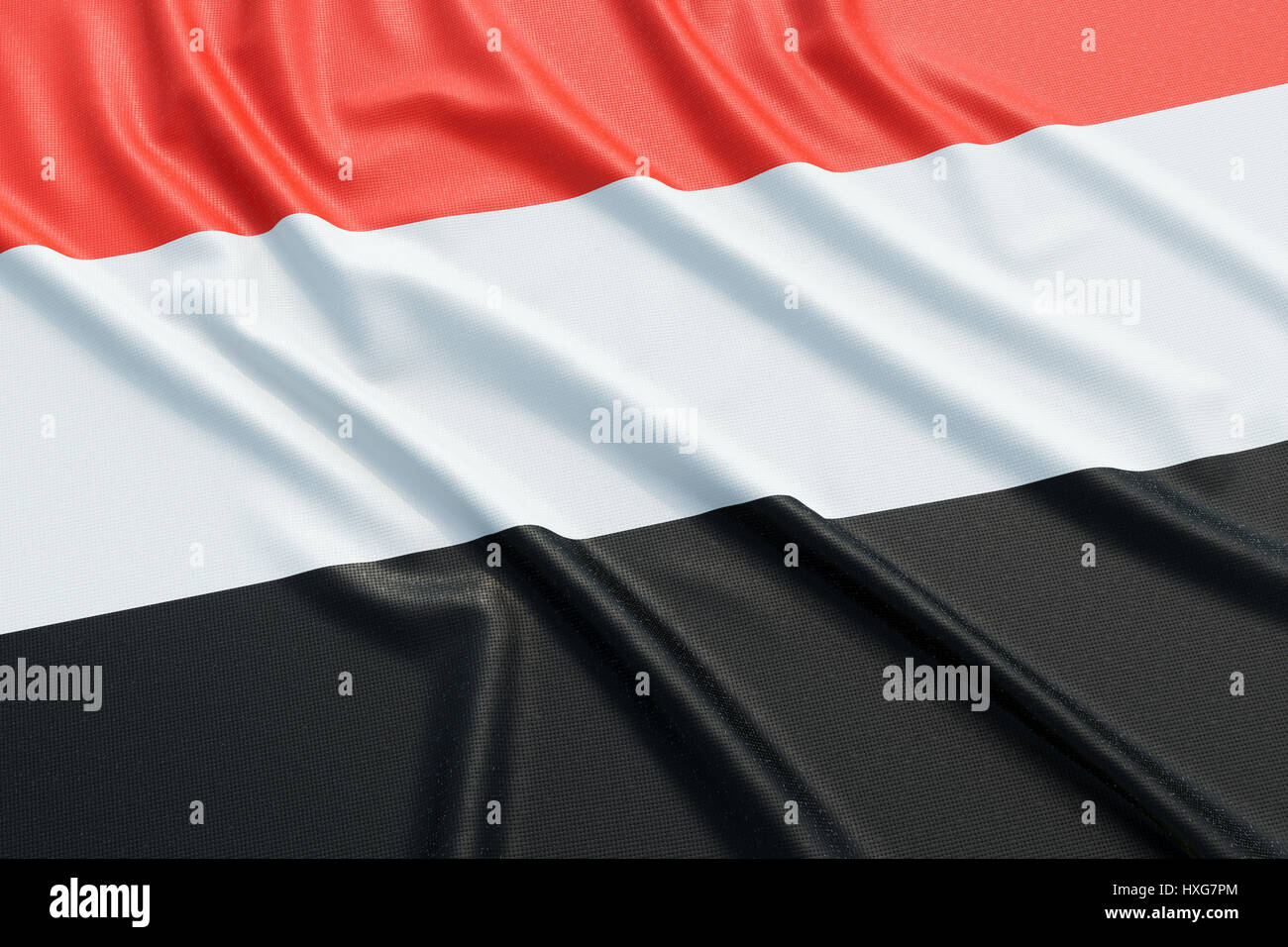 Yemen flag. Wavy fabric high detailed texture. 3d illustration rendering Stock Photo