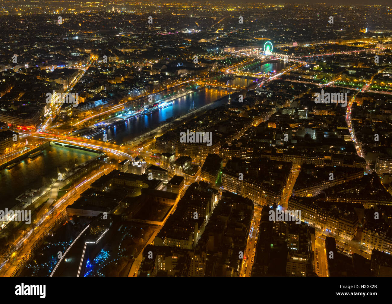 Night cityscape of Paris taken from the Eiffel Tower, France - Stock Image