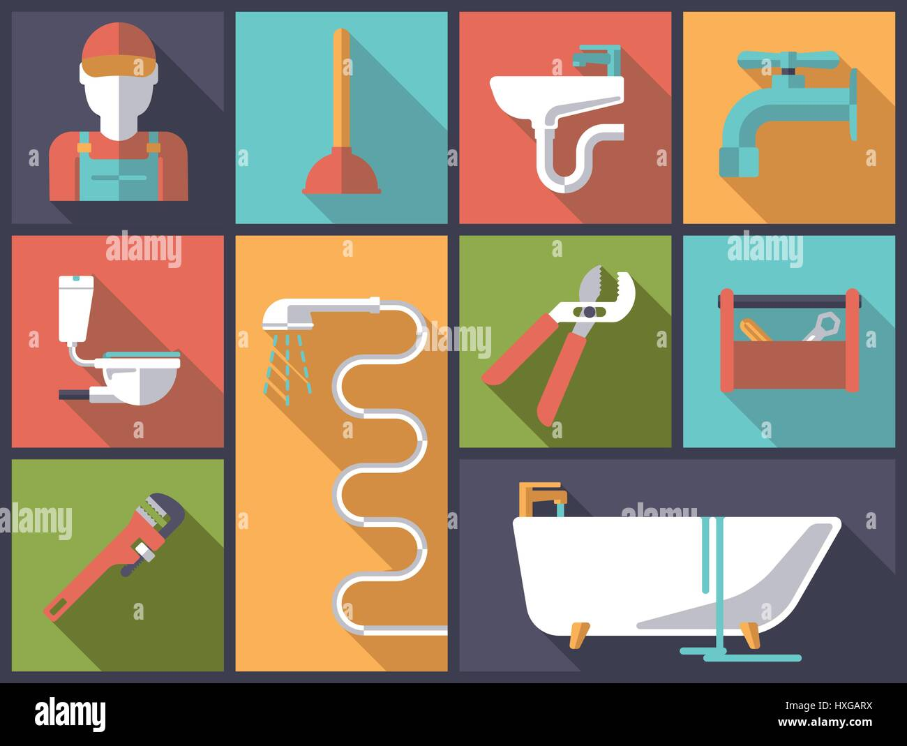 Horizontal flat design long shadow illustration with plumbing tools and sanitary facilities Stock Vector