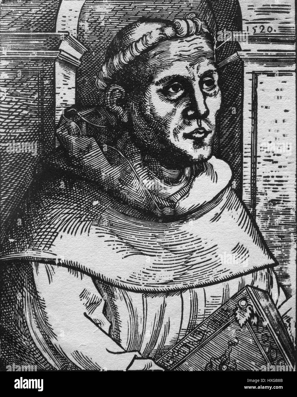 Lucas Cranach the Elder (1472-1553), Martin Luther as an Augustinian monk, (1483-1546). Woodcut, Wittenberg 1520. - Stock Image