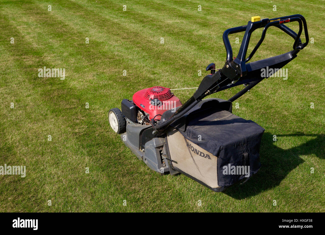 Honda lawnmower on newly mowed striped lawn - Stock Image