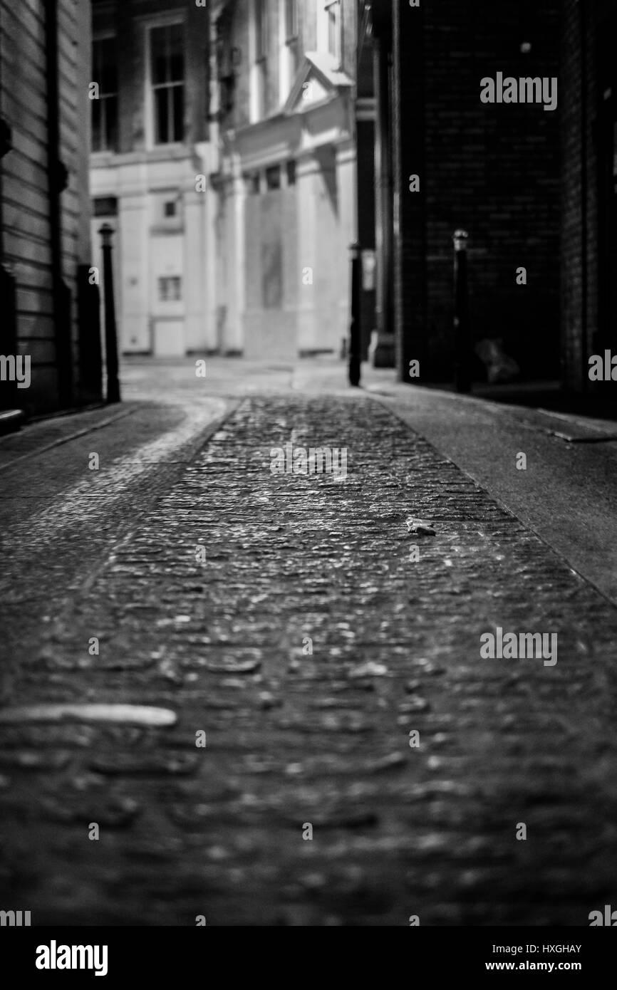 Monochrome image of cobbled London street - Stock Image