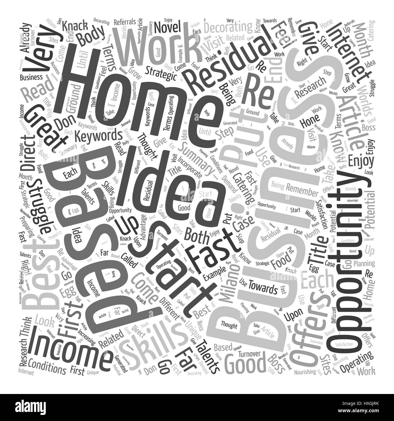 Residual Income Home Based Business Opportunity Word Cloud Concept - Stock Vector