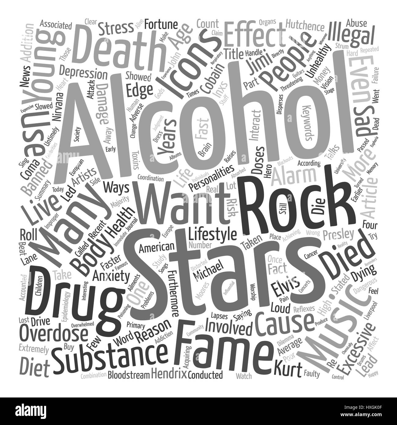 Rock Stars Music Icons Alcohol and Drug Overdose text background wordcloud concept - Stock Vector