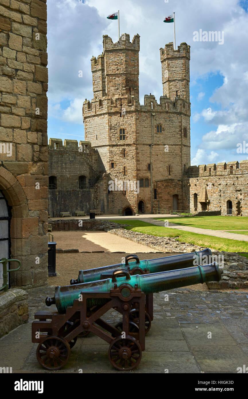 Caernarfon or Carnarvon Castle built in 1283 by King Edward I of England, Gwynedd, north-west Wales, Stock Photo