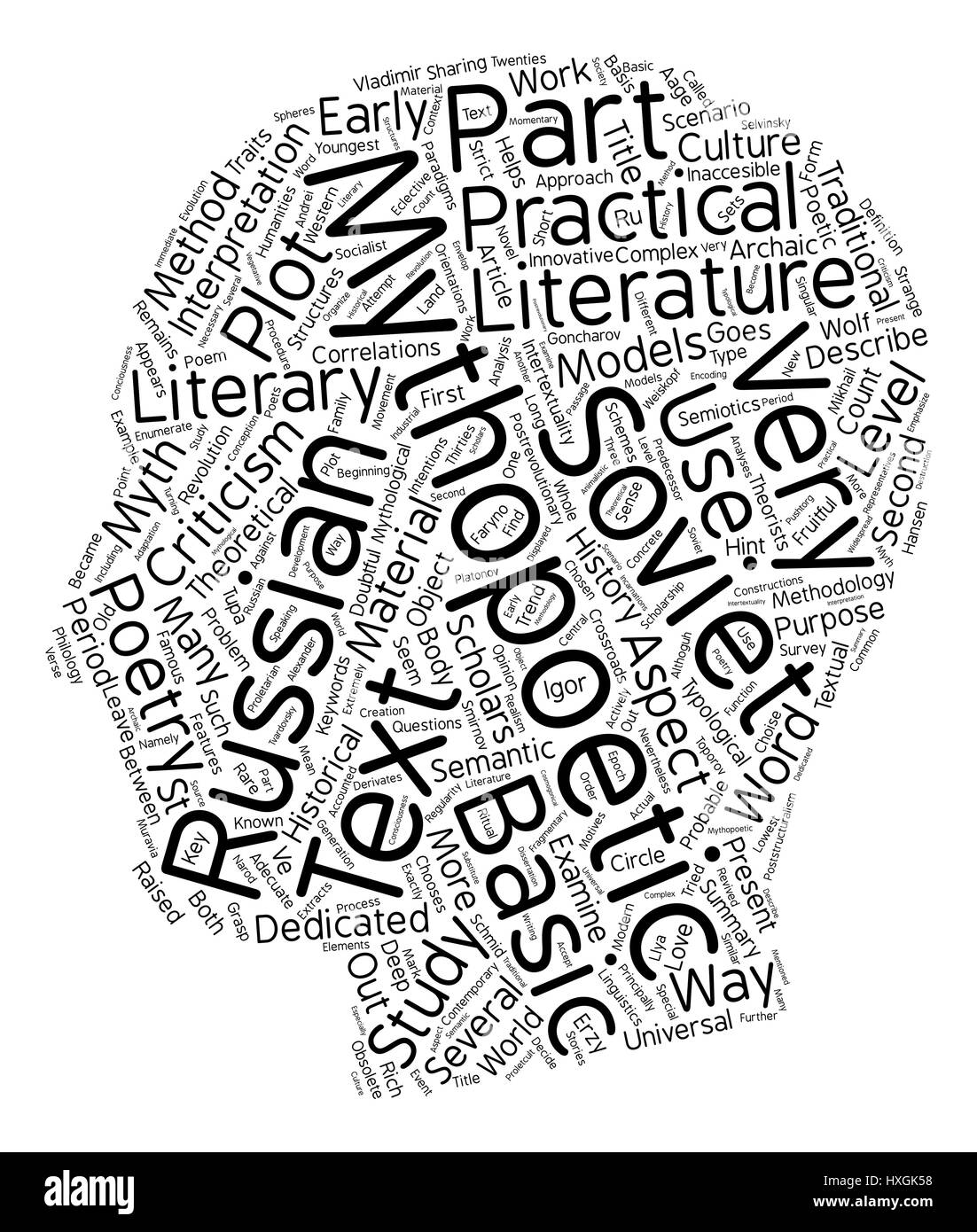 Russian literature text background wordcloud concept - Stock Image
