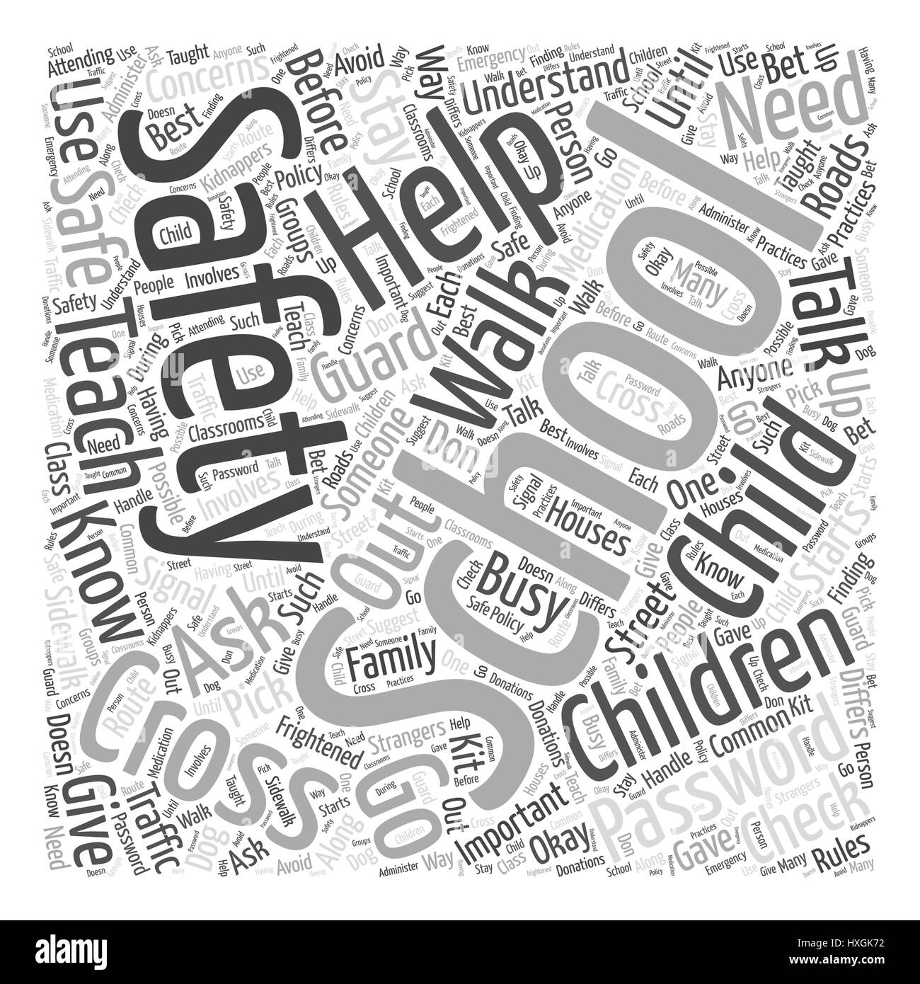Safety Helps Word Cloud Concept - Stock Image