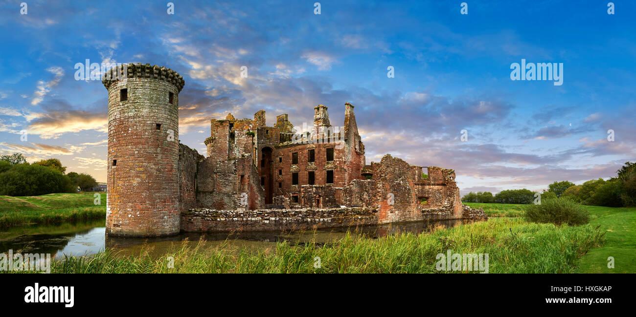 Exterior of Caerlaverock Castle, Dumfries Galloway, Scotland, - Stock Image