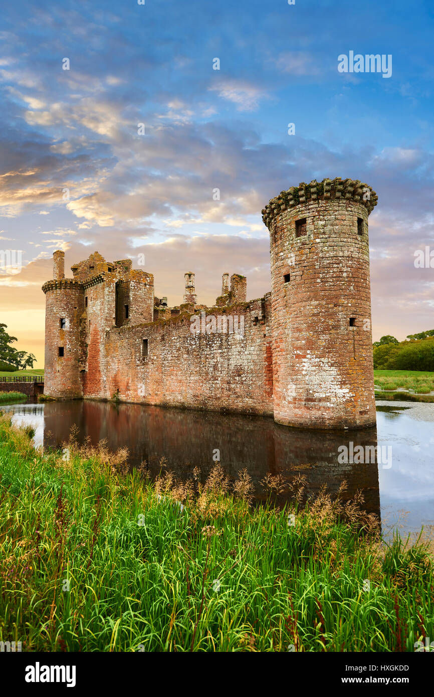 Exterior of Caerlaverock Castle, Dumfries Galloway, Scotland, - Stock Image