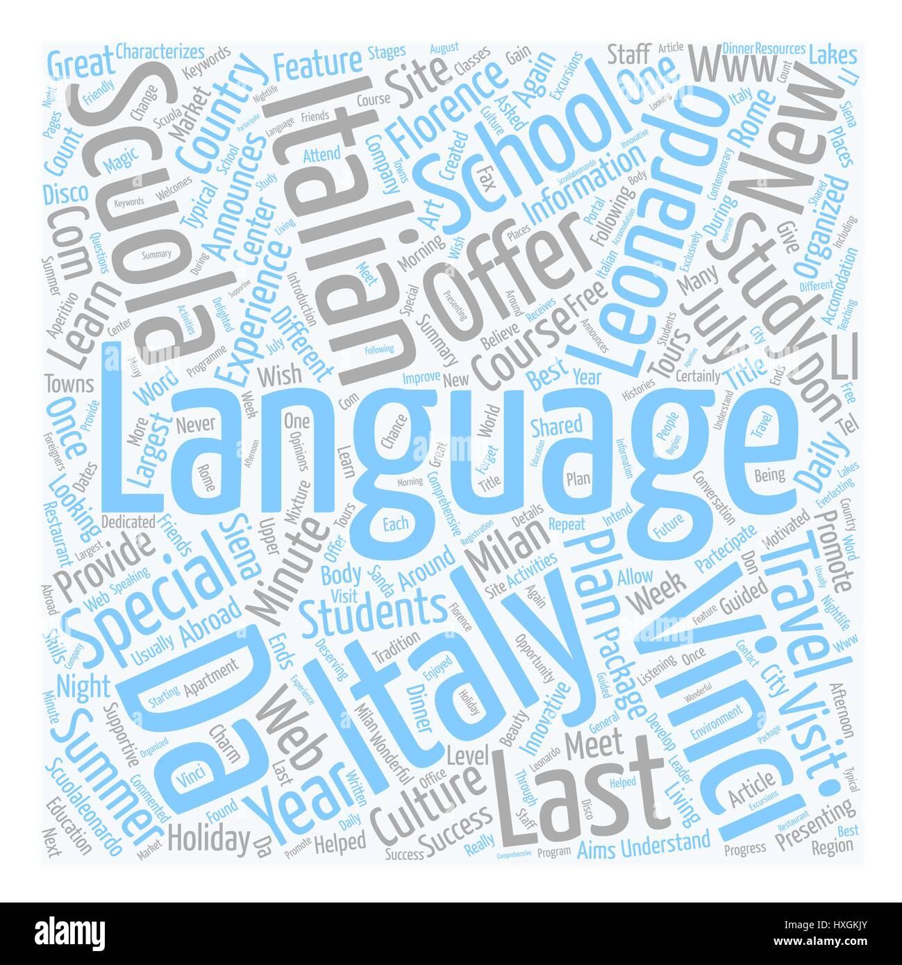 Scuola Leonardo Da Vinci Announces The New Last Minute Special Offers For Summer 2007 text background wordcloud - Stock Vector