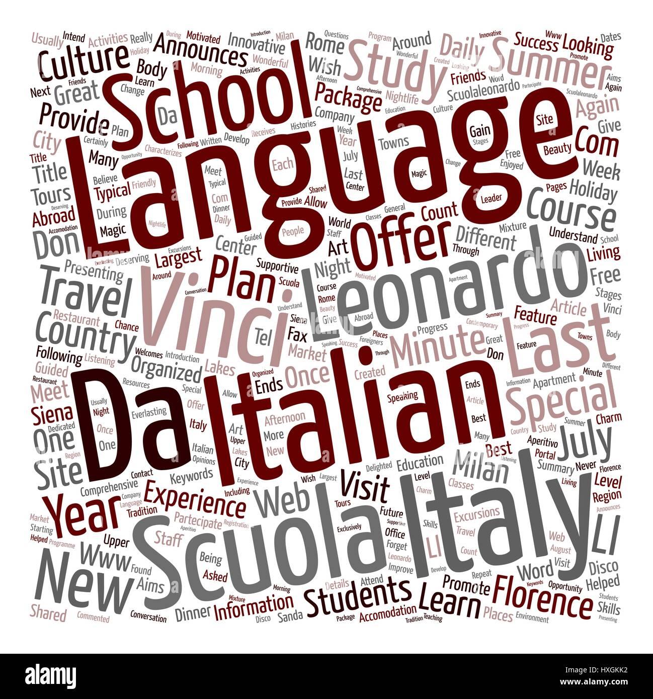 Scuola Leonardo Da Vinci Announces The New Last Minute Special Offers For Summer text background wordcloud concept - Stock Vector