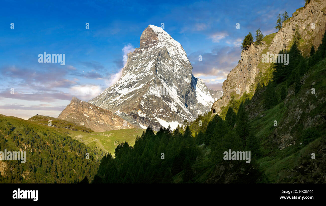 The Matterhorn or Monte Cervino mountain peak, Zermatt, Switzerland - Stock Image