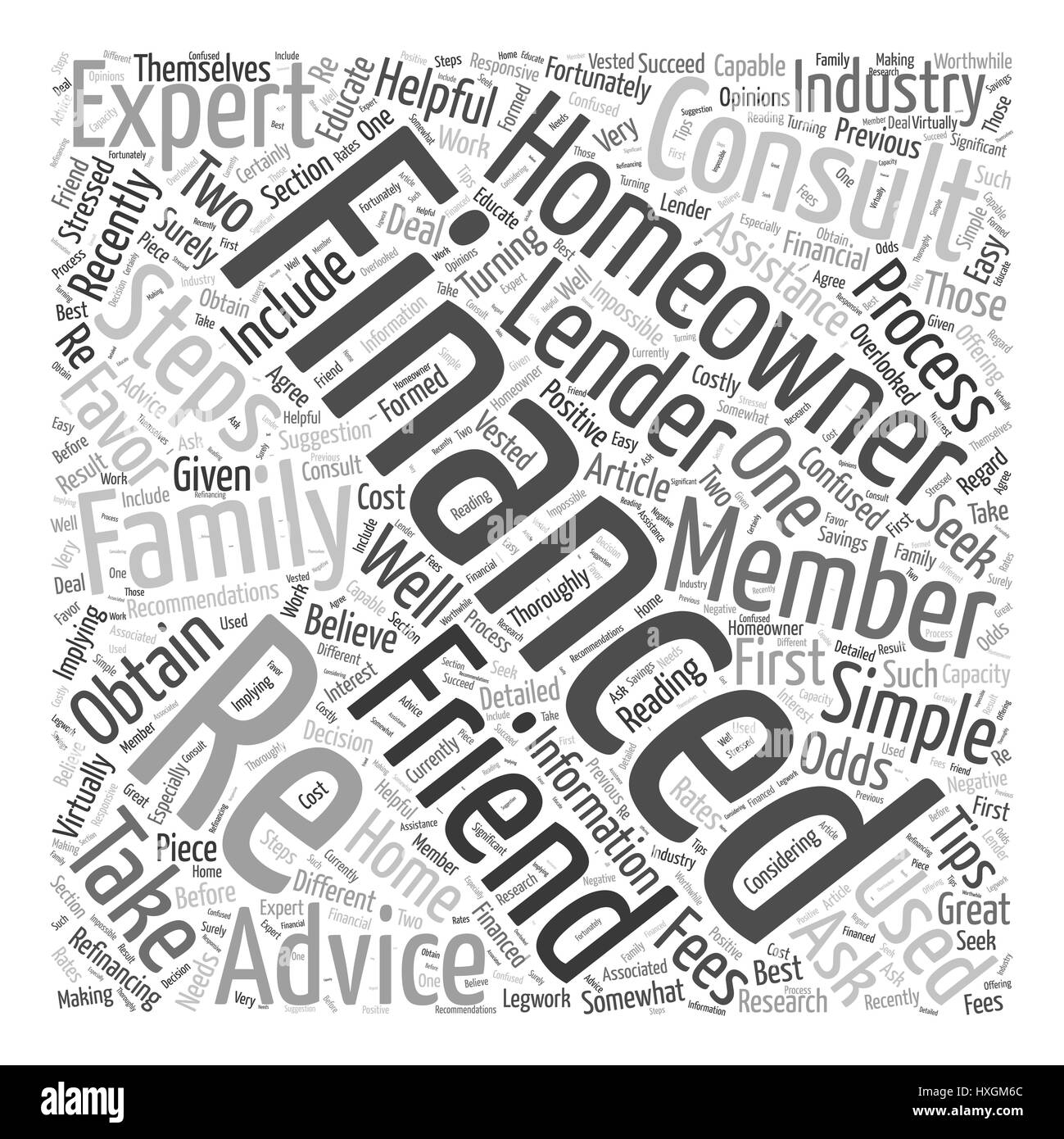 Seek Recommendations When Re Financing Word Cloud Concept - Stock Image