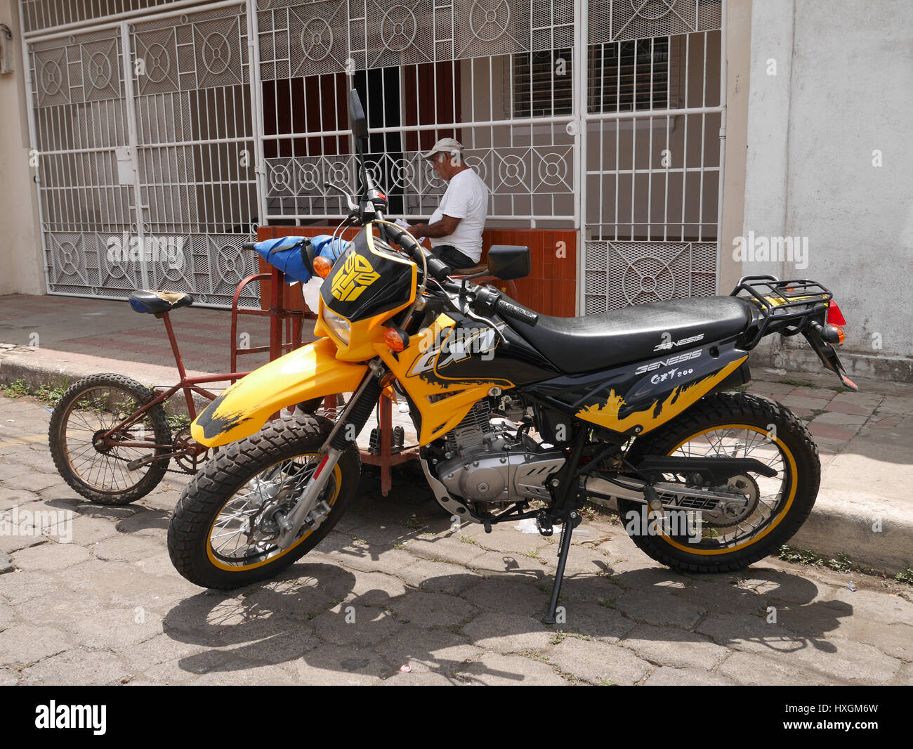 Motorcycle in Nicaragua streets - Stock Image