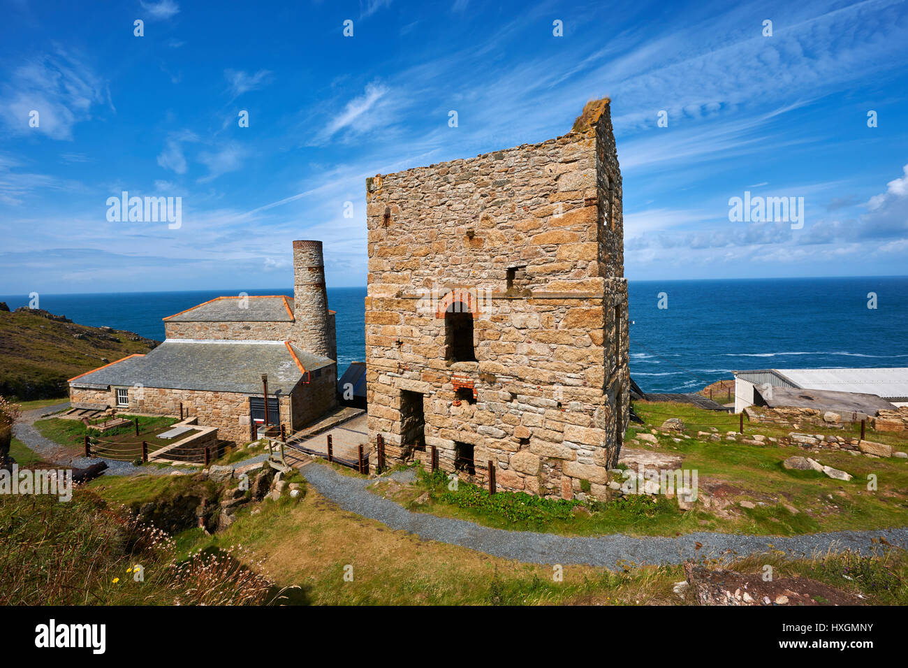 Engine houses of Levant Tin Mine, Cornwall - Stock Image
